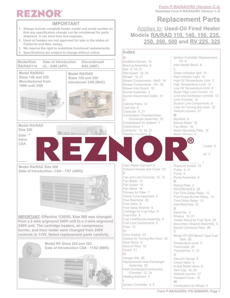 Reznor Parts Catalog
